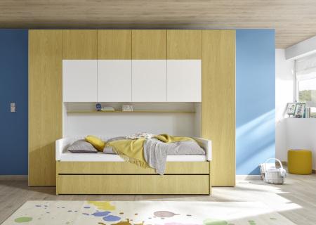 """Dětský a studentský nábytek ESPERO (žlutá varianta)_skříňový """"most"""" nad postel 310x234 cm_postel 90 cm + čalouněný díl + zásuvka pod postel_regálová police_typy 674302-70_624302-90_624302-TP90_624302-L90_624302-C90_674302-33_obr. 8"""