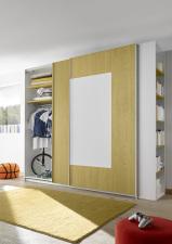 Šatní skříň s posuvnými dveřmi ESPERO (Quadr.-optika) 243x230 cm_otevřená_žluté police_samostatně stojící regál s 5-ti policemi_typy 671704-243-Y_674302-243-7_674302-45_obr. 15