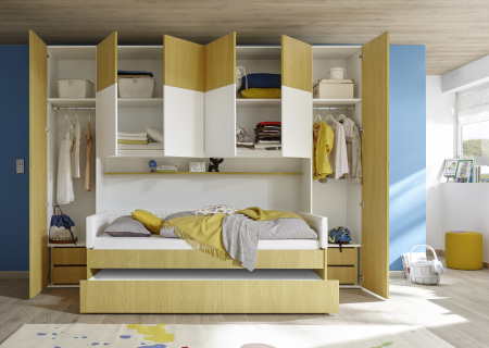 """Dětský a studentský nábytek ESPERO (žlutá varianta)_skříňový """"most"""" nad postel 310x234 cm_otevřený_postel 90 cm + čalouněný díl + zásuvka pod postel_regálová police_zásuvková vložka_typy 674302-70_624302-90_-TP90_-L90_-C90_674302-33_-40"""