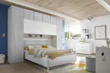 "Dětský a studentský nábytek ESPERO (šedá varianta)_skříňový ""most"" nad postel 310 cm_postel 160 cm_regálová police_komoda_1x sada stěnových regálů_obr. 8"
