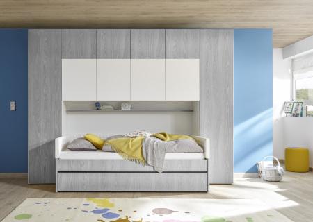 """Dětský a studentský nábytek ESPERO (šedá varianta)_skříňový """"most"""" nad postel 310x234 cm_postel 90 cm + čalouněný díl + zásuvka pod postel_regálová police_typy 674502-70_624502-90_624502-TP90_624502-L90_624502-C90_674502-33_obr. 9"""
