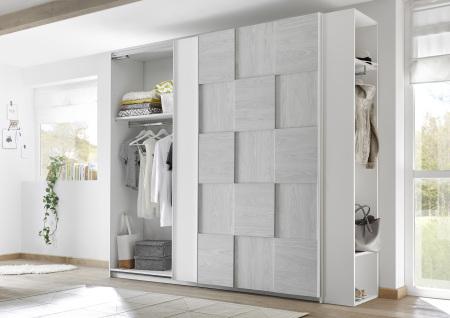 Šatní skříň s posuvnými dveřmi ESPERO (3D-optika) 243x230 cm_otevřená_police šedé_regál na šaty s 2 policemi a tačí na ramínka_typy 671705-243-A_674502-42_obr. 13