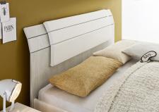 Detail šedého hlavového dílu postele s čalouněným dílem bílým_obr. 21
