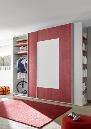 Šatní skříň s posuvnými dveřmi ESPERO (Quadrat.-optika) 243x230 cm_otevřená_červené police_samostatně stojící regál s 5-ti policemi_typy 671704-243-R_676602-243-7_676602-45_obr. 13