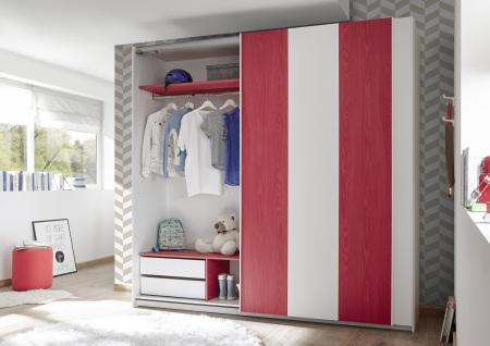 Šatní skříň s posuvnými dveřmi ESPERO (Vertiko-optika) 243x230 cm_otevřená_zásuvková vložka + červené police_typy 671703-243-R_676602-41_676602-243-7_obr. 15