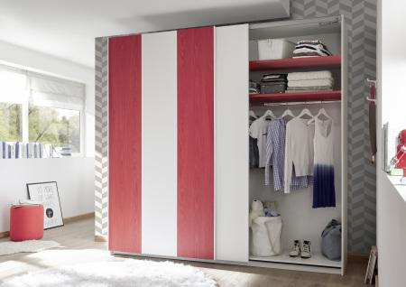 Šatní skříň s posuvnými dveřmi ESPERO (Vertiko-optika) 243x230 cm_otevřená_červené police_typy 671705-243-R_676602-243-7_obr. 17