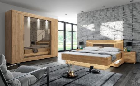 Ložnicová sestava DREAM_ šatní skříň + postel se zásuvkami + 2x noční stolek_ možnost volitelného LED osvětlení_bez matrací a roštů_obr. 1