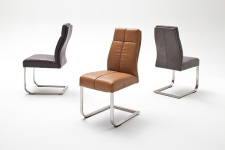 Jídelní židle FONTE_varianta C_imitace kůže hladká-sametový lesk_cognac, hnědá, šedá