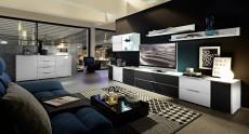 Obývací stěna MEDIAN_návrh 1_+sideboard 21, noční pohled