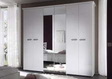 Šatní skříň 6-ti dveřová s 2-mi zrcadlovými dveřmi AMBROSIA