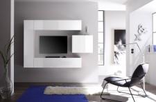 Obývací stěna CUBATO Kombi 1, kompletně bílá