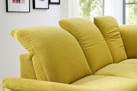 Sedací souprava ONTARIO 1031_polohování opěrek hlavy_v látce Easy care Yellow