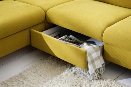 Sedací souprava ONTARIO 1031_ úložný prostor_v látce Easy care Yellow