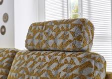 Sedací souprava GARDENA 1090_detail zádového polštáře a opěrky hlavy_v látce Venezia yellow