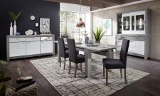 Obývací / jídelní program GRACE white_sestava 40 54 3W 84 + sideboard 21_jídelní stůl 29 54 3W 01 + jídelní lavice 29 54 3W 03 + jídelní židle PABLO 2H 03 3O 70_varianta_obr. 4
