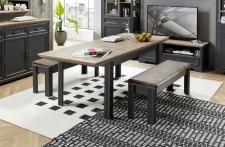 Jídelní stůl JASPER graphit 20 G9 GH 01 rozložený + 2x lavice 20 G9 GH 03_obr. 16
