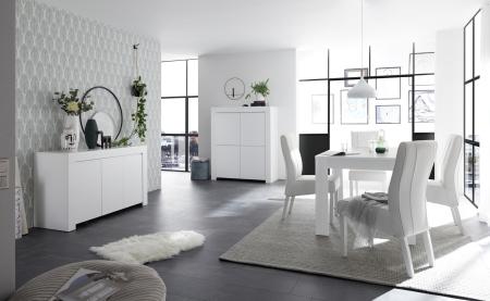 Volná sestava elementů CASTELLO bílý matný lak_sideboard 3dv. + highboard 4dv. + jídelní stůl 137 cm_obr. 2