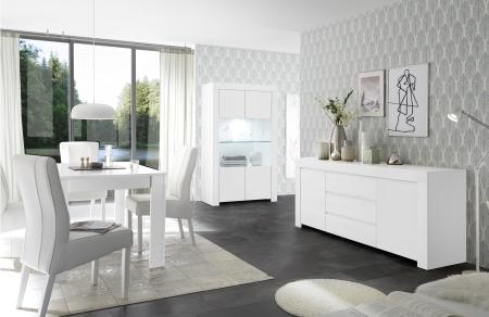Volná sestava elementů CASTELLO bílý matný lak_vitrina + sideboard 2dv. 3zsk. + jídelní stůl 137 cm_obr. 4