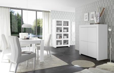 Volná sestava elementů CASTELLO bílý matný lak_highboard 4dv. + regál + jídelní stůl 137 cm_obr. 5