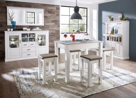 Volná sestava nábytku LIMA_jídelna_vysoký barový stůl 29 29 UU 06 + 4x barová stolička 29 29 UU 08