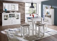Volná sestava nábytku LIMA_jídelna_vysoký barový stůl 29 29 UU 07 + 4x barová stolička 29 29 UU 08