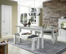 Jídelní stůl LIMA 29 29 UU 01 rozložený (2 nástavné desky) + 2x lavice 29 29 UU 03