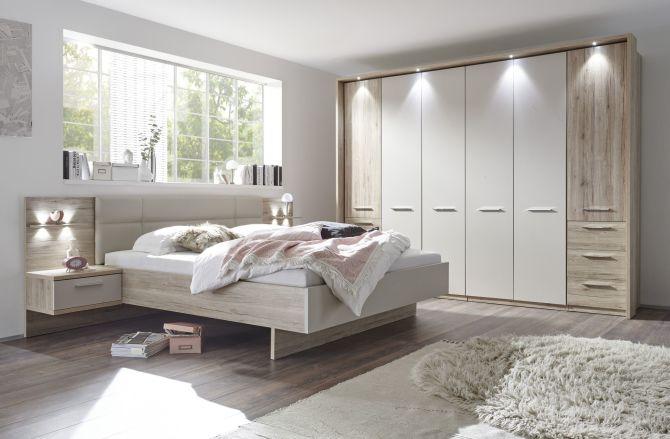 Ložnicový nábytek PORTO_ šatní skříň 6-ti dveřová s okrasným rámem a LED osvětlením + postelový komplet s nočními stolky a LED osvětlením_ obr. 1