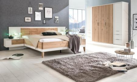 Ložnicový nábytek VALENCIA_5-dv. šatní skříň se zásuvkami + postel 180x200 cm + 2x noční stolek_možnost volitelného LED osvětlení_obr. 1