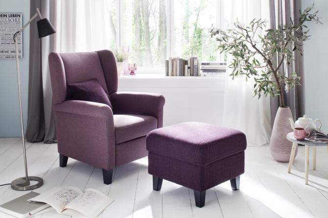 """Křeslo """"ušák"""" MALTE v látce  Orlando purple_s taburetem v látce Cosima lila"""