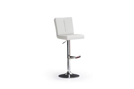 Barová židle MANTO_chromovaná podnož_kruh_bílá_obr. 1