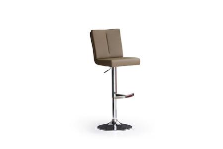 Barová židle MANTO_chromovaná podnož_kruh_cappuccino_obr. 2