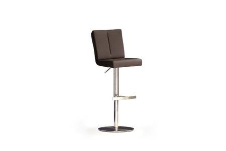 Barová židle MANTO_nerezová podnož_kruh_hnědá_obr. 2
