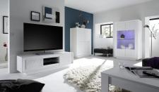 Obývací sestava MONDE_vitrina_TV-element_highboard_bílý matný lak - lineární tisk_obr. 3