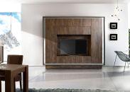 Obývací stěna MONDE monolith 705093_provedení dub Cognac s rámem ze satinované nerezové oceli_obr. 1