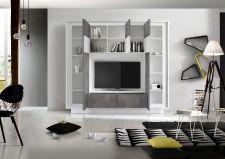 """Obývací stěna MONDE monolith 701793C_provedení bílý matný lak / """"beton"""" dekor_otevřená_obr. 6"""