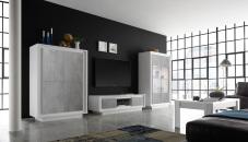 Obývací sestava MONDE_vitrina_TV-element_highboard_bílý matný lak - beton_obr. 1