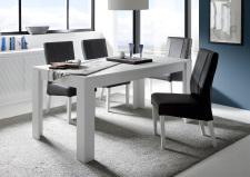 Jídelní stůl MONDE_bílý matný lak_s židlemi anthrazit_obr. 30