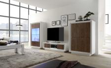Obývací sestava MONDE_vitrina_TV-element_highboard_bílý matný lak - dub cognac_obr. 29