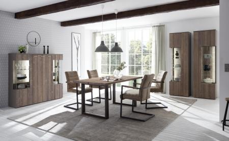 Obývací a jídelní sestavy CALABRIA basaltgrau_vitrina 12 + vitrina 13 + highboard 48 + jídelní stůl 60 + 4x jídelní křeslo _obr. 3