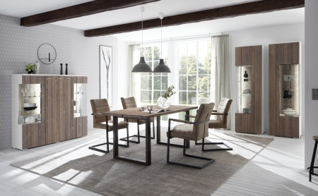 Obývací a jídelní sestavy CALABRIA basaltgrau-weiss_vitrina 12 + vitrina 13 + highboard 48 + jídelní stůl 60 + 4x jídelní křeslo _obr. 1
