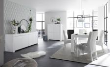 Volná sestava elementů CASTELLO bílý matný lak_sideboard 4dv. + highboard 4dv. + jídelní stůl 137 cm_obr. 5