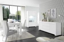 Volná sestava elementů CASTELLO bílý matný lak_vitrina + sideboard 2dv. 3zsk. + jídelní stůl 137 cm_obr. 7