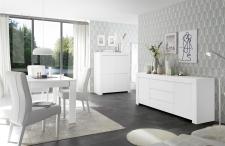 Volná sestava elementů CASTELLO bílý matný lak_highboard 4dv. + sideboard 2dv. 3zsk. + jídelní stůl 137 cm_obr. 8