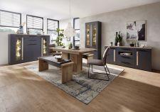 Obývací a jídelní nábytek LAMIA graphite _highboard 22 + vitrina 03 + sideboard 20 + jídelní stůl 20 J4 GH 01 + 2x lavice 20 J4 GH 03 _obr. 4