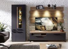 Obývací a jídelní nábytek LAMIA graphite _sestava 10 J4 GH 81_ čelní pohled _obr. 6