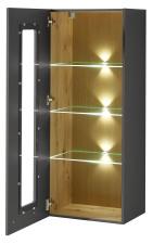 Závěsná vitrina LAMIA graphite 10 J4 GH 10 _ šikmý pohled_ otevřená_ obr. 22