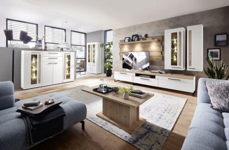 Obývací a jídelní nábytek LAMIA white _sestava 10 J4 WH 80 + highboard 22 + konf. stůl 20 J4 WH 02 _obr. 1