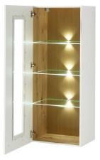 Závěsná vitrina LAMIA 10 J4 WH 10_ šikmý pohled_ otevřená_ obr. 28