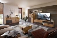 Obývací a jídelní nábytek LAUSANNE_sestava 45 65 HH 83 + sideboard 20 + konferenční stůl 20 65 HH 02_možnost volitelného LED osvětlení_obr. 2
