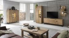 Obývací a jídelní nábytek LISBOA_dubový masiv_obývací sestava 40 52 42 + highboard 48 + konf. stůl 50 _volitelné LED osvětlení a granitová záda u vitrin a otevřených nik_obr. 3